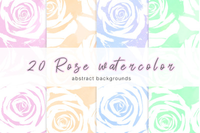 20 Rose watercolor abstract backgrounds