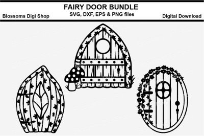Fairy door bundle SVG, DXF, EPS and PNG cut files