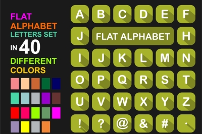 Flat Alphabet letters Icon sets in different colors and forms