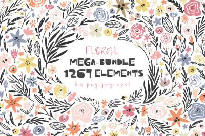 Floral mega-bundle: 1267 elements