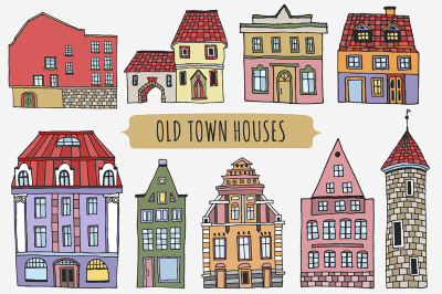 Old town houses + pattern