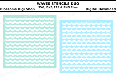 Waves stencil duo SVG, DXF, EPS and PNG cut files