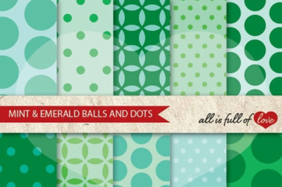 Mint Green Emerald Backgrounds Balls and Dots Spring Digital Paper