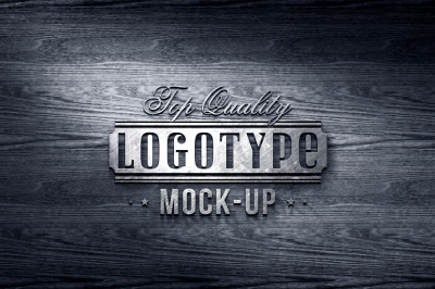 Metal On Black Wood - Top Quality Logotype Mock-up