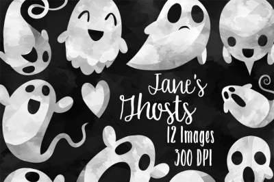 Watercolor Spooky Ghosts Clipart