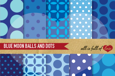 Navy Blue Backgrounds Balls and Dots Boy's Digital Papers
