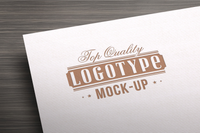Top quality Logotype mock up - gold letterpress on white chalk paper
