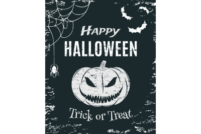 Grunge, Happy Halloween, poster.