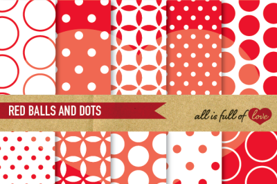 Red White Backgrounds Balls and Dots Red Digital Paper