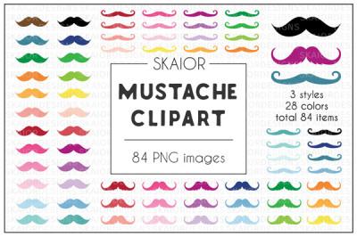 Rainbow Mustache Clipart
