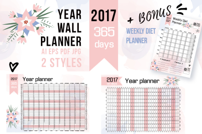 2017 YEAR WALL PLANNER + bonus!
