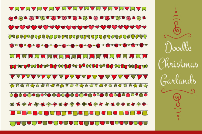 Set of doodle christmas garlands
