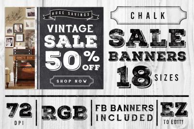 Chalk Vintage Sale Web Banner Ads