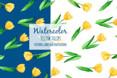 Watercolor yellow tulips