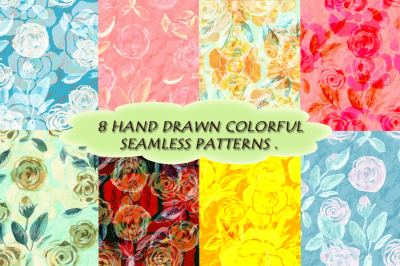 8 watercolor seamless floral patterns