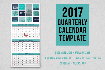 2017 quarterly calendar template