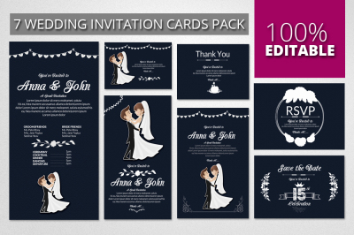 Wedding Invitation Pack Templates