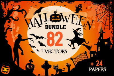 Halloween Clipart Bundle - 82 cliparts + 24 papers
