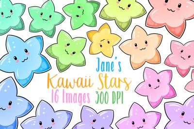 Kawaii Pastel Stars Clipart