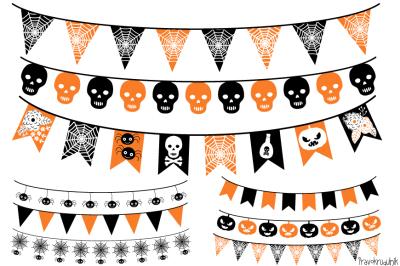 Halloween banner, Halloween bunting , Garland clipart