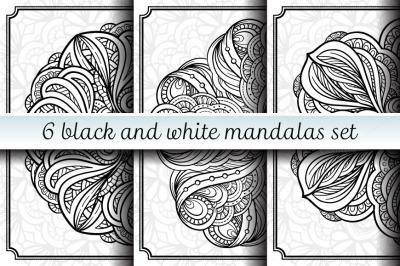 6 black and white mandalas set