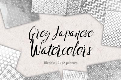 Grey Japanese watercolour patterns seamless Gray Scrapbooking Digital