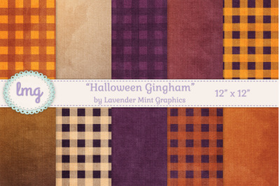 Halloween Gingham Pattern Backgrounds