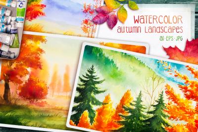 Autumn watercolor landscapes