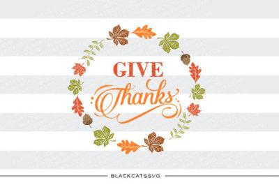 Give thanks - leaves frame - SVG file