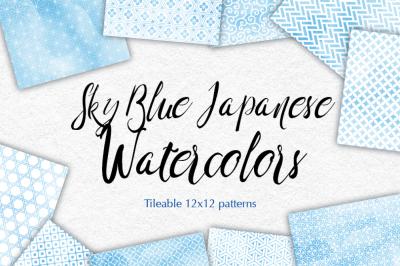 Sky Blue Japanese watercolor patterns seamless Blue digital background
