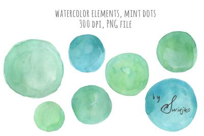 Watercolor Mint Dots, logo design