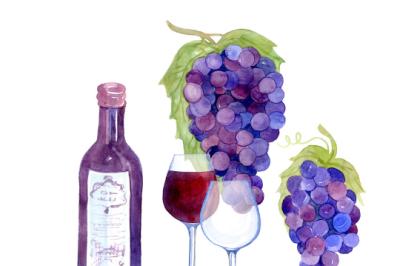 Vineyard Clip Art Set, Grapes, Wine, Bottle, Glass
