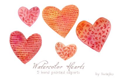 Watercolor Hearts. Valentine's Day