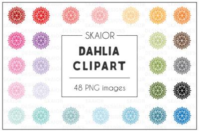 Rainbow Dahlia Flower Clipart