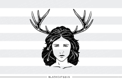 Girl and antlers - SVG file