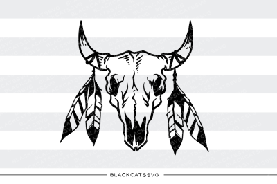 Bull skull and feathers - SVG file