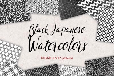 Black watercolour japanese seamless patterns
