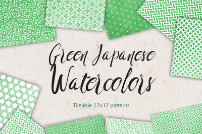 Green watercolor japanese seamless patterns