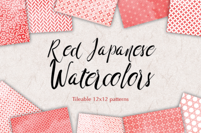 Red watercolour japanese seamless patterns scrapbooking digital background