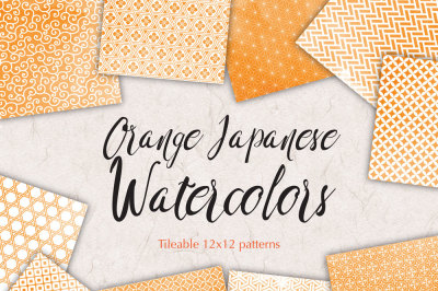 Orange watercolor japanese seamless patterns