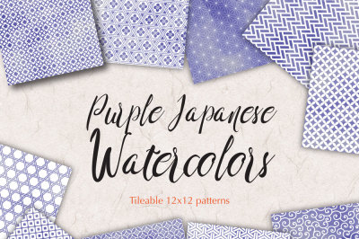 Purple Japanese watercolor patterns seamless digital background paper
