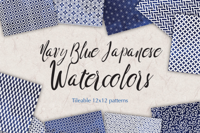 Navy Blue Japanese watercolour patterns seamless backgrounds