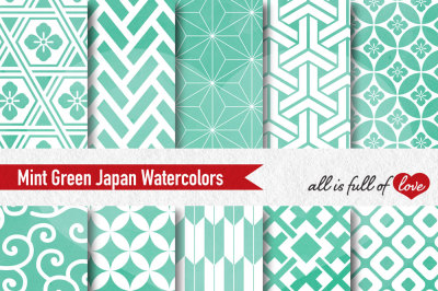 Digital Paper Mint Japanese watercolor patterns seamless backgrounds