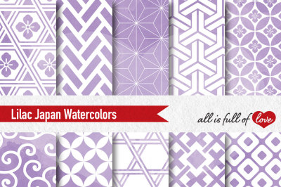 Lilac watercolour digital paper japan patterns seamless backgrounds