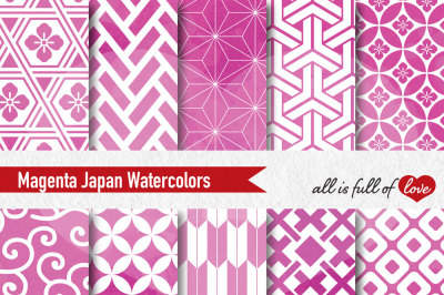 Pink Magenta watercolor digital paper japan patterns seamless backgrounds