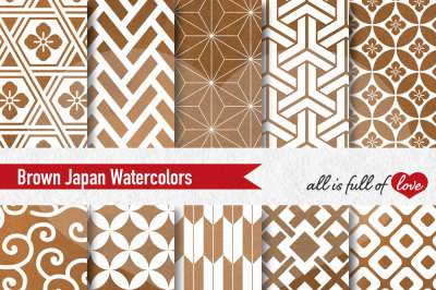 Brown watercolor digital paper japan patterns seamless backgrounds cyber monday sale