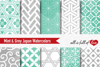 Grey Mint watercolour digital paper japan patterns seamless backgrounds