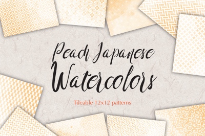 Wedding paper Peach watercolours digital paper japan patterns seamless backgrounds