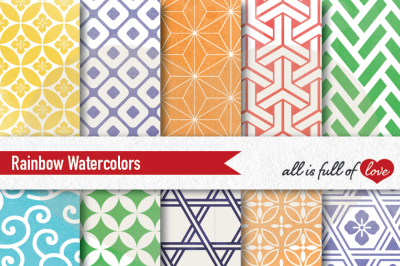 Rainbow watercolor digital paper japan patterns seamless backgrounds