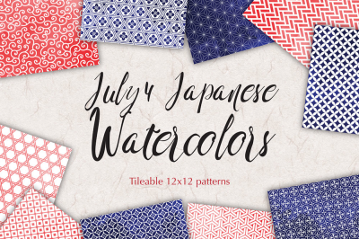 JULY 4 watercolor patterns geometric backgrounds